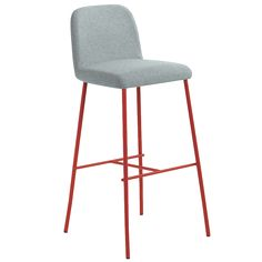 Myra 3.1, Fully upholstered barstool with steel base. With contrast stitching in red or rope color. Hospitality, Interior, Design.