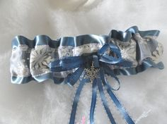 French Blue Satin-Silver Snowflakes Garter-Winter Wedding