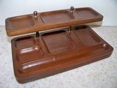 Vintage Swank Mid Century Modern Wood Dresser Valet Tray Desk Office Organizer