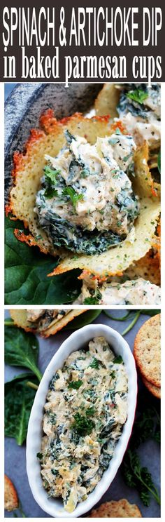 Spinach and Artichoke Dip in Parmesan Cups - Creamy, cheesy, spicy Spinach and Artichoke Dip served in  baked parmesan cheese cups.