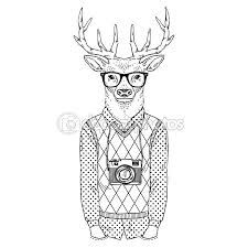 Fashion Illustration Of Deer Dressed Up In Hipster Style