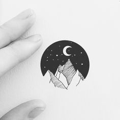 "2,086 Likes, 12 Comments - Eva Svartur (@eva.svartur) on Instagram: ""Mini moon #moon #micro #microtattoo #microdesign #landscape #mountains #geometry #linework…"""