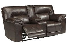 Barrettsville DuraBlend® Chocolate Double Reclining Power Loveseat w/Console, /category/living-room/barrettsville-durablend-chocolate-double-reclining-power-loveseat-w-console-1.html