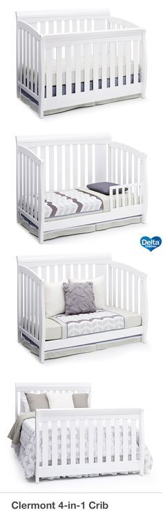 Make your dream nursery a reality with the Clermont 4-in-1 Crib from Delta Children. With the kind of sophistication that will last your child from birth till adulthood, this timeless crib features a sleigh-style silhouette and a mixture of wide and skinny slats to create a solid, yet airy feel. Designed to grow with your baby, it converts into a toddler bed, daybed and full size bed, making it the only bed your child will ever need. #crib #nursery #baby  #deltachildren