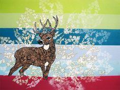 Deer Zentangle Art Print  Mule Deer  Floral  Whimsy  by MayhemHere