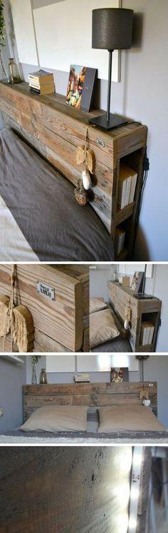 Une jolie tête de lit finition cirée avec étagères et rangements fabriquée avec des palettes et des caisses de pommes http://www.homelisty.com/tete-lit-palette/