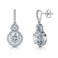 Round Cubic Zirconia CZ Sterling Silver Double Halo Dangle Earrings