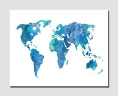 World Map Modern Wall Art Home Decor Art Print Globe Silhouette Digital Watercolor