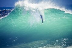This is a picture of a bodysurfer at the Wedge in Newport Beach, California.