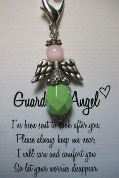 Guardian Angel Pink and Green Key Chain Charm by sweetvioletlane, $8.00