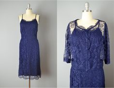 Vintage 50s Dress and Jacket // 1950s Navy Lace Dress with Matching Lightweight Jacket // Large by OffBroadwayVintage on Etsy https://www.etsy.com/listing/196149525/vintage-50s-dress-and-jacket-1950s-navy