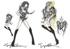 Armani sketches for Lady Gaga's Monster Ball Tour 2012