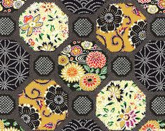 Japanese Import - Floral Faux-Shibori Hexagons - Black/Gold
