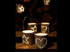 Recycled Cans instead of Chinese paper lanterns! Engrave your initials, shapes, are create a message. Christmas Makes, Christmas In July, Christmas Diy, Recycled Christmas Decorations, Recycle Cans, Deco Table, Paper Lanterns, Recycled Crafts, Tea Light Holder