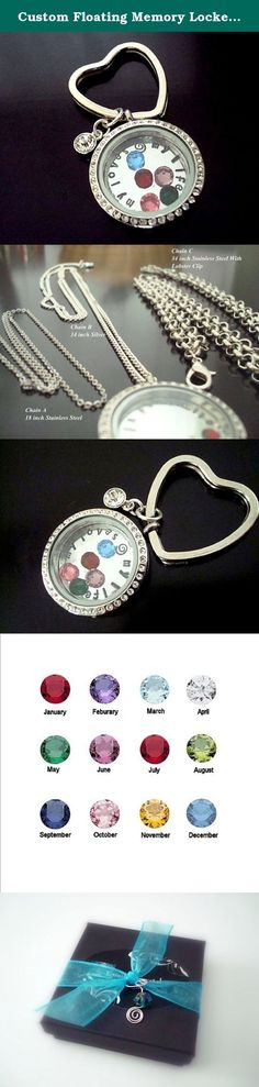 "Custom Floating Memory Locket Necklace or Key Chain, your choice- Personalized - Stainless Steel - My Loves My Life or your Custom Saying. Floating Locket Necklace or Key chain. Your choice. Sample shows ""My Loves - My Life"" but you can customize yours with a different saying. I made this sample locket for myself and I wear it all the time. The inside birthstones represent ""My Loves"" and the single dangle birthstone on the outside of the locket is my birthstone. This listing includes a…"