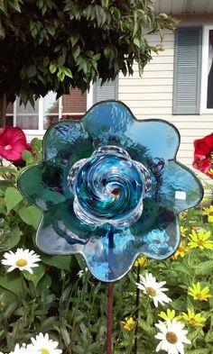 Blue glass garden art by Kimber's Garden Gems on Facebook
