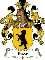 Baar Coat of Arms / Baar Family Crest  The Dutch surname of BAAR was a nickname for a short fat man, originally rendered in the Latin from B... #code of arms #family shield #genealogy #heraldry #crests #family #reunion #heritage #geneology