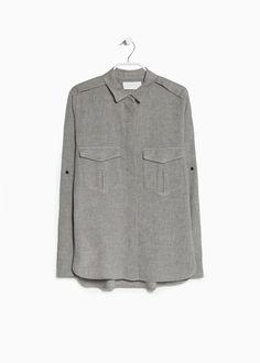 PREMIUM - Camisa algodón bolsillos-MANGO
