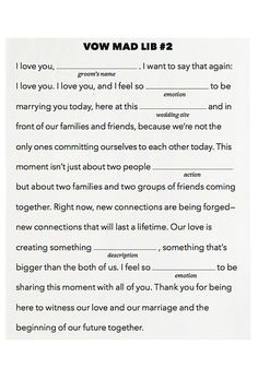 Brides.com: 25 Ways to Personalize Your Wedding Ceremony. Write Mad Lib Vows!. Want to write your own vows but don't know where to start? Fill in the blanks and get inspired!  Browse wedding stationery.