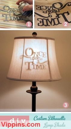 DIY Custom Silhouette Lamp Shade I love this idea! One upon a time lampshade diy home decor on a budget