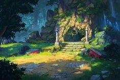 Jungle Environment Paintings for Concept Art Inspiration Fantasy City, Fantasy Places, Fantasy World, Landscape Concept, Fantasy Landscape, Landscape Art, Environment Concept Art, Environment Design, Art Of Dan