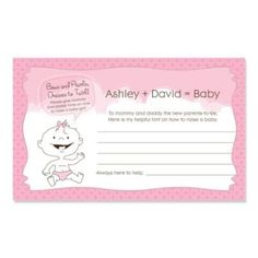 Baby Girl - Personalized Baby Shower Helpful Hint Advice Cards . $0.79. It is wonderful to leave the mommy and daddy-to-be with a thoughtful gift on the baby shower day. Make the remarkable gift words of wisdom with our Baby Girl personalized helpful hint advice cards! They will certainly love to get advice and thoughts on raising their little one from their loving friends and family on these personalized cards! They make for a great keepsake and the advice will sta...