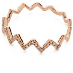 EF Collection Pave Diamond Zigzag Stack Rings ($530) ❤ liked on Polyvore featuring jewelry, rings, accessories, pave stackable rings, pave diamond jewelry, zig zag ring, 14k stackable rings i 14k ring