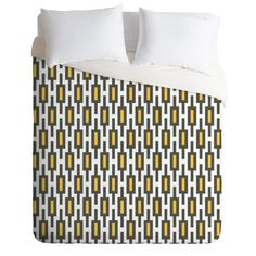 Raven Jumpo Grey Gold Geometry Duvet Cover | DENY Designs Home Accessories