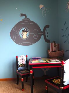 Monkey Pirate Playroom - love the quirkiness of this space and it's theme.
