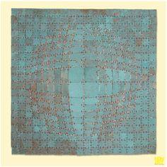 "TERRA BLUE | #blue patina on hammered #copper | 100 x 100 cm | 40"" x 40"" | Private Collection, Belgium #artwork #interiordesign #contemporaryart #bluetapestry #sculptureart"