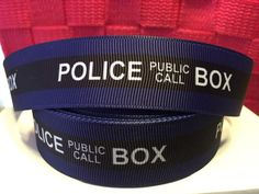 Who Tardis Police Box Grosgrain Ribbon - Bow Making Ribbon -Whovian Daleck Grosgrain Ribbon - Lanyards Police Box, Lanyards, Collar And Leash, Dr Who, Tardis, Grosgrain Ribbon, Bbc, Hair Bows, Bow Making