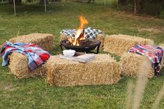 bales and some wool blankets set the scene for a cozy fall festival right in your own backyard.Hay bales and some wool blankets set the scene for a cozy fall festival right in your own backyard. Backyard Movie Party, Backyard Party Decorations, Backyard Parties, Backyard Bbq, Backyard Ideas, Patio Ideas, Fall Birthday Decorations, Bbq Ideas, Bbq Party