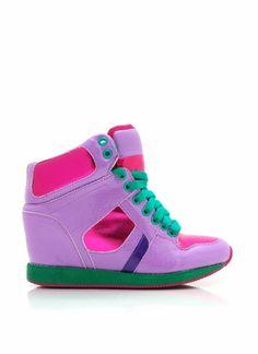 1751e1e9ae30 colorblock reptile wedge sneakers Wedge Sneakers
