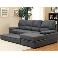 Shop for Furniture of America Delton Contemporary Faux Nubuck Sleeper Sectional. Get free delivery at Overstock - Your Online Furniture Shop! Get in rewards with Club O! Sofa Tv, Sectional Sleeper Sofa, U Shaped Sectional, Grey Sectional, Couches, Living Room Furniture, Home Furniture, Living Rooms, Furniture Ideas