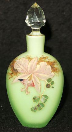 Antique Bohemian Light Green Satin Glass Perfume Bottle w Hand Painted Orchid Antique Perfume Bottles, Old Bottles, Vintage Perfume Bottles, Blue Perfume, Art Nouveau, Vases, Perfume Recipes, Beautiful Perfume, Bottle Art