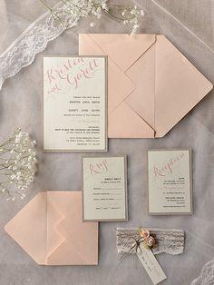 Custom listing 80 invitations Grey Peach door forlovepolkadots