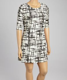 Look at this Black & Gray Crosshatch Scoop Neck Dress - Plus on #zulily today!