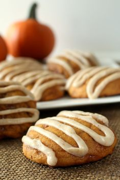 Pumpkin Toffee Cookies with Browned Butter Glaze - Soft, moist pumpkin cookies with sweet toffee and brown butter glaze. Probably my favorite cookie ever!: Pumpkin Toffee Cookies with Browned Butter Glaze - Soft, moist pumpkin cookies with sweet toffee and brown butter glaze. Probably my favorite cookie ever!