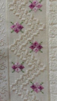 Beautiful floral/autumn cross stitch embroidered tablecloth in white linen from Sweden Hardanger Embroidery, Ribbon Embroidery, Cross Stitch Embroidery, Embroidery Patterns, Doily Patterns, Dress Patterns, Cross Stitch Borders, Cross Stitch Patterns, Cross Stitches