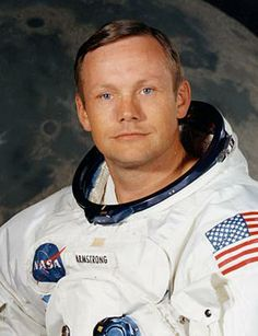 Neil Armstrong.  (b.1930) was an astronuat. He went to the moon with Buzz Aldrin and Michael Collins in 1969. Armstrong was the first man to walk on the moon. His footprints are still on the moon.