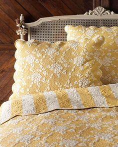 beautiful yellow and white bedding ~