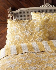 beautiful yellow and white bedding ~