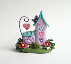 Miniature  Fairy Whimsy House on LOVE Heart Trio & Landscaping OOAK by C. Rohal