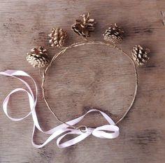 Gold Crown Pine Cone Hair Wreath Woodland Hair by FairytaleFlower