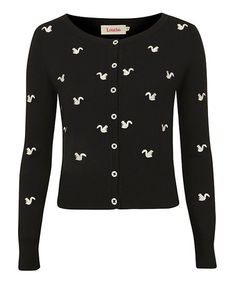 Take a look at this Black & White Squirrel Cardigan by Louche on #zulily today! Nothing better then black and white. Add the retro look and pretty perfect.