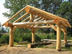 Here's a log gazebo made of giant natural logs.
