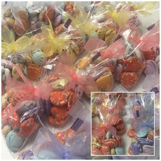 Candy coated seashells bagged and tied with organza ribbon in 3 colors Wedding Shower Favors, Organza Ribbon, Seashells, Candy, Colors, Ideas, Food, Shelled, Sweet