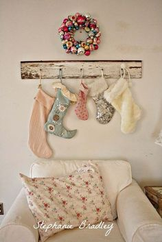 great way to hang the kids' stockings without a mantel ;)  50+ Latest Christmas Decorations 2015 | Christmas Celebrations