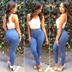4e552085bf0    22.50   Sexy high waist denim pants L21055 Casual Mode