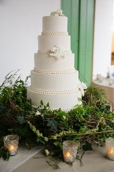 Classic white wedding cake in a nest of greenery